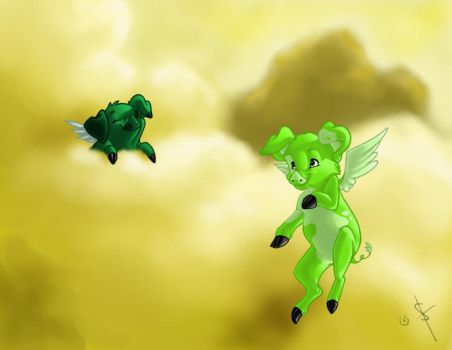 My pigs fly. by shayfifearts