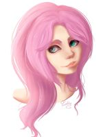 Humanized Fluttershy (Bust) by Evehly