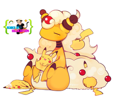 Render- Mega ampharos and pikachu by KillerJeff234