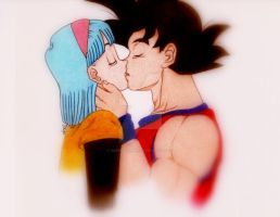 .:Goku X Bulma ...the kiss:. by desertora001