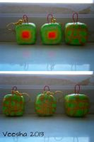 Square Cantaloupe Earrings and Necklace Pendant by Veesha