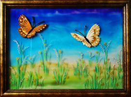 Stained glass paint on glass + embroidered butterf by Sstroitel