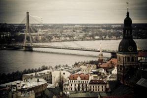 Riga, River and Bridge by AmniosDesign