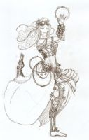 Steam Punk Gipsy Biomechanical Girl Sketch by Satanoy