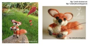 Needle felting - Fox with paper kite by yenefer