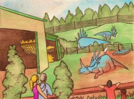 styracosaurus enclosure by halfpennyro04