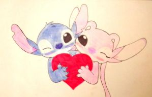 Stitch y angel love by kary22