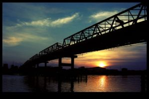 Sunset Over Kapuas Bridge by pontianakdeviant