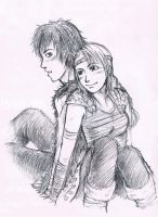 Hiccup and Astrid by 44lol