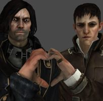 Much Love: Outsider and Corvo by xXChristieXx