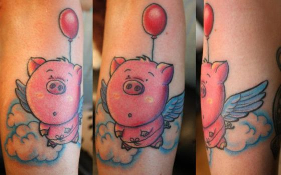 Flying pig tattoo by Xenn5