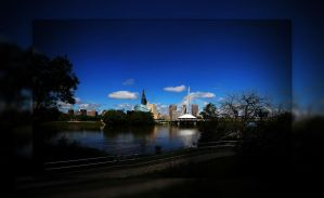 Downtown Winnipeg 3 Picture Panorama Blue Version by Joe-Lynn-Design