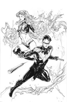 starfire and nightwing for by Peter-v-Nguyen