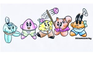 Spongebob Kirby and friends by littlemisskirby