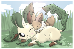 Leafy x Eevee by pichu90