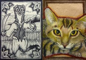 ACEO Cat and Redwall Weasel by Redwall151