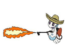 Froslass with a Flamethrower by sunnyfish