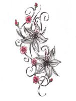 Lily + Cherry Blossom Tattoo by expedient-demise