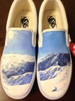 Custom painted snowboarding kicks by dannyPs-customs