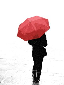 Red Umbrella in the snow by McTwist
