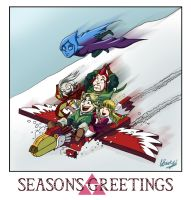 Legend of Zelda - Seasons Greetings from Skyloft by ryuuza-art
