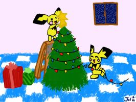 Pichu Christmas by Drabble-Monster
