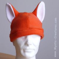 Fox hat in bright orange by Mystic-Creatures