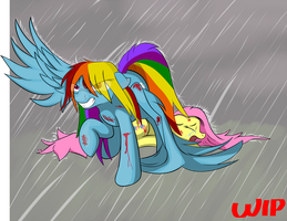 Dashie Protects Fluttershy (Phase4) by Alaxandir