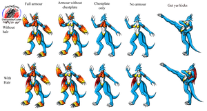 Female Flamedramon sprite test by Snowfyre