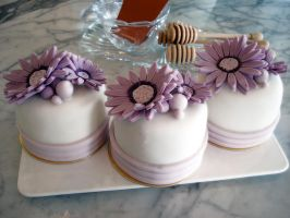 Lilac Gerbera Mini Cakes by Sliceofcake