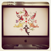 Kawaii Koi Lotus Mandala iMac by KawaiiUniverseStudio
