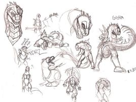 Gojira-sketches by JuneCat