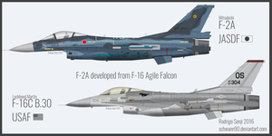 F-2A and F-16 Falcon by Schwann90