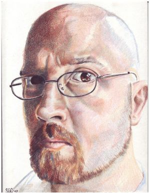 Colored pencil portrait entitled Self Portrait II