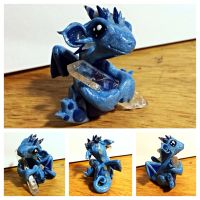 Sparkly Blue Crystal Dragon by LittleCLUUs