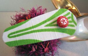 Green and White Fabric Hair Clip by spaceraptor