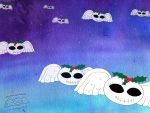 Wallpaper 1600x1200 Flying Xmas Deaths Heads by marthahull