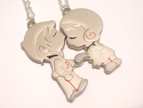 Lovers Kissing Couple Necklace by AmbiguousAngel
