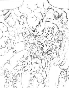 Japanese Tiger back piece WIP by TigerDreams