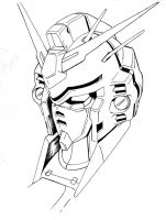 Gundam GP03 Head Lineart by aquadrop