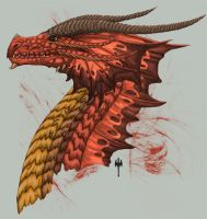 Red Dragon Head Side view by Sheranuva