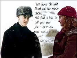 Draco n Hermione in Snow by caleno