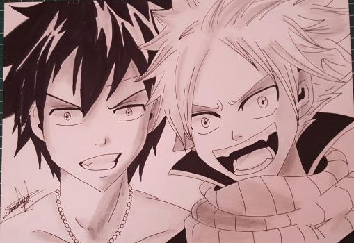 Natsu and Grey from Fairy Tail by Bloodtiesss
