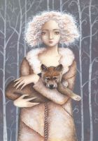 A Girl and Her Wolf Pup by IreneShpak