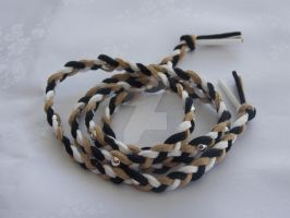 Wraparound suede bracelet black brown white by Quested-Creations