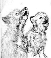 wolf pups howling by Lupineleigh