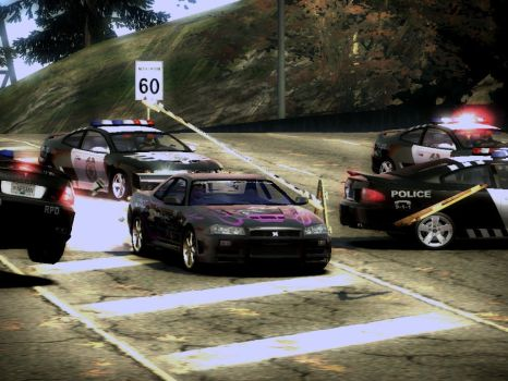 NFS Most Wanted Skyline R34 cop chase by Lycanwolf88