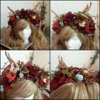 Custom Flower Crown with Anlters by NoFlutter