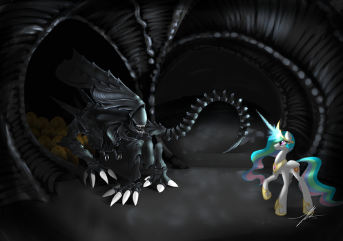 Kallisti III Request: Celestia vs Xenomorph Queen by Wreky