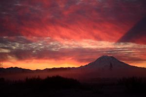 Morning Sun behind Rainier by jeruley